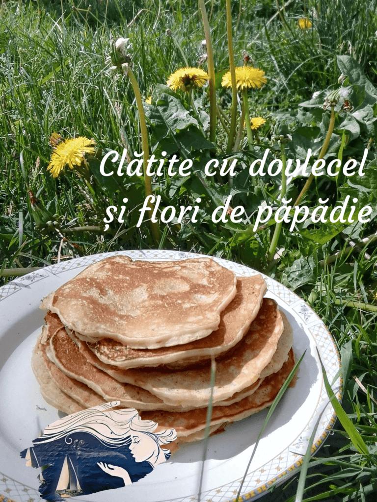 pancakes cu dovlecel și flori de păpădie